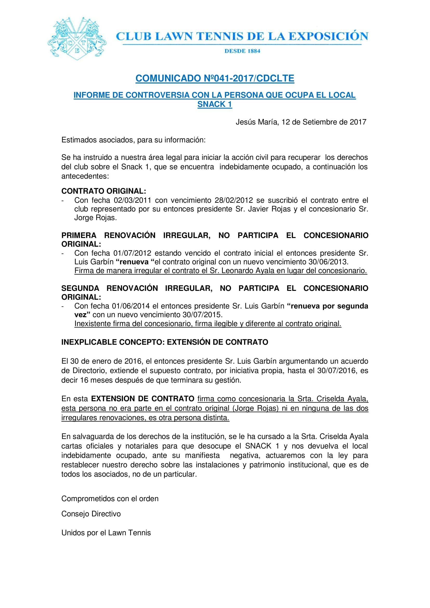 Comunicado 041 - INFORME CONTROVERSIA SNACK 1