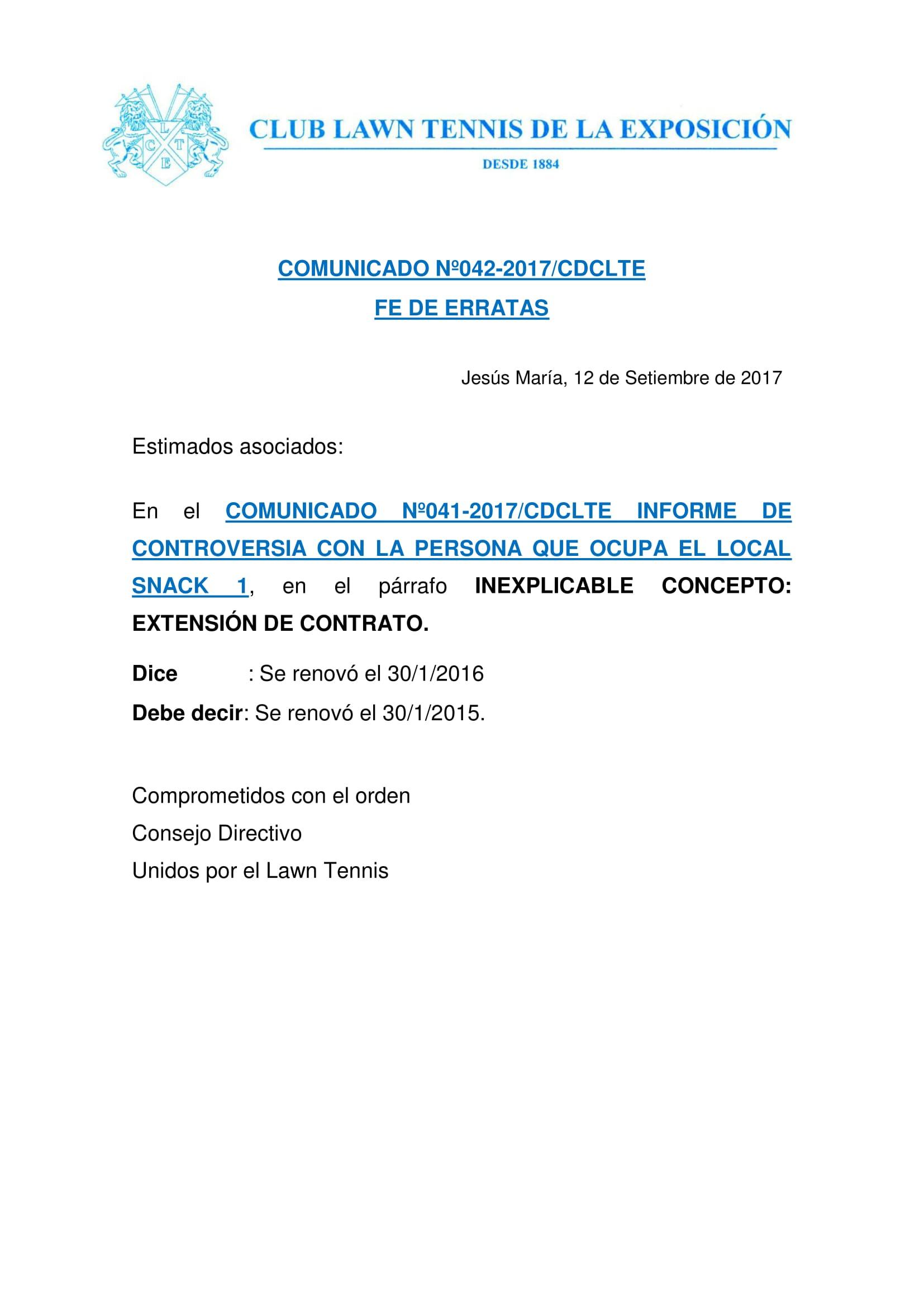 Comunicado 042 - FE DE ERRATAS