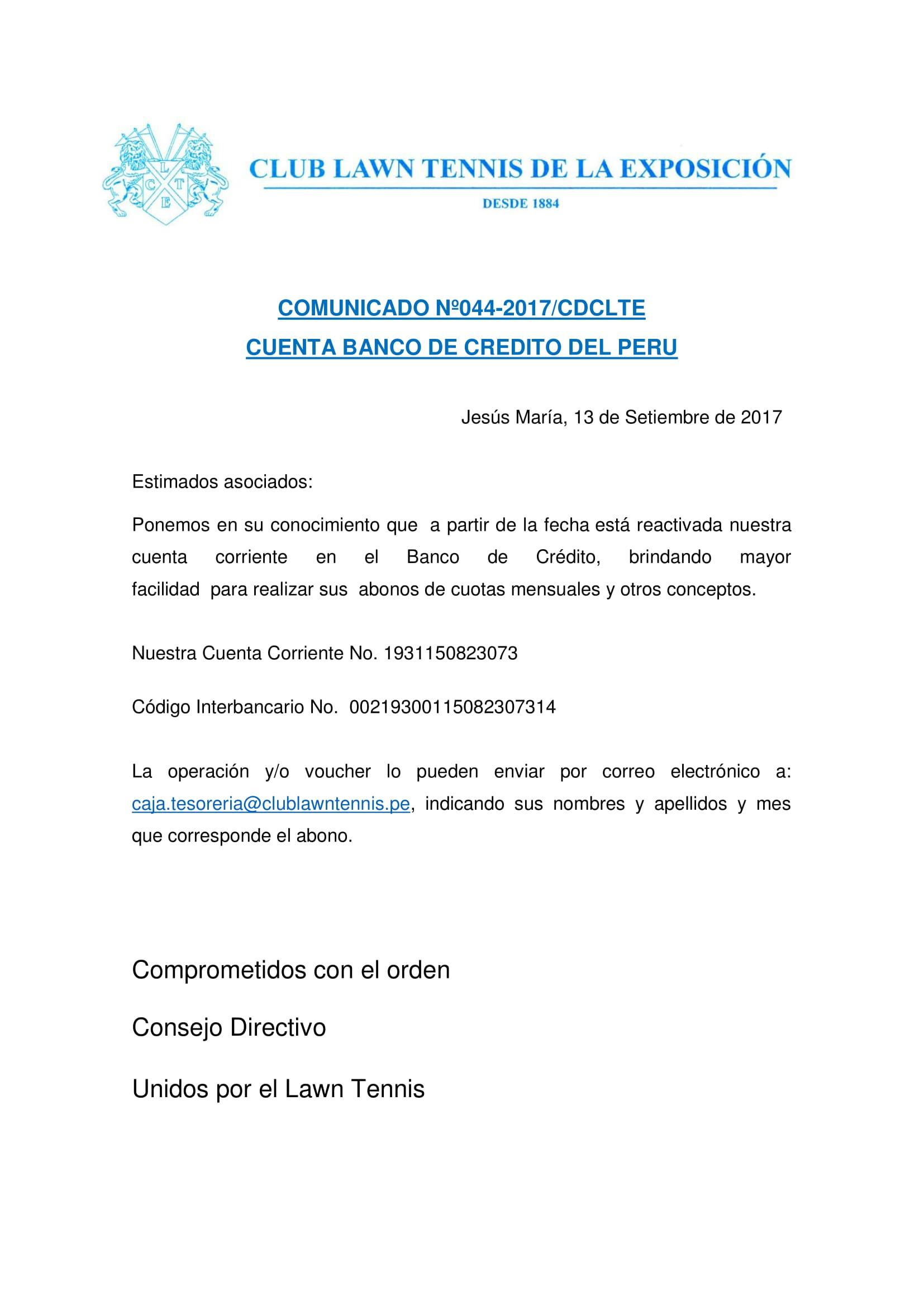 Comunicado 044 - CUENTA BCP