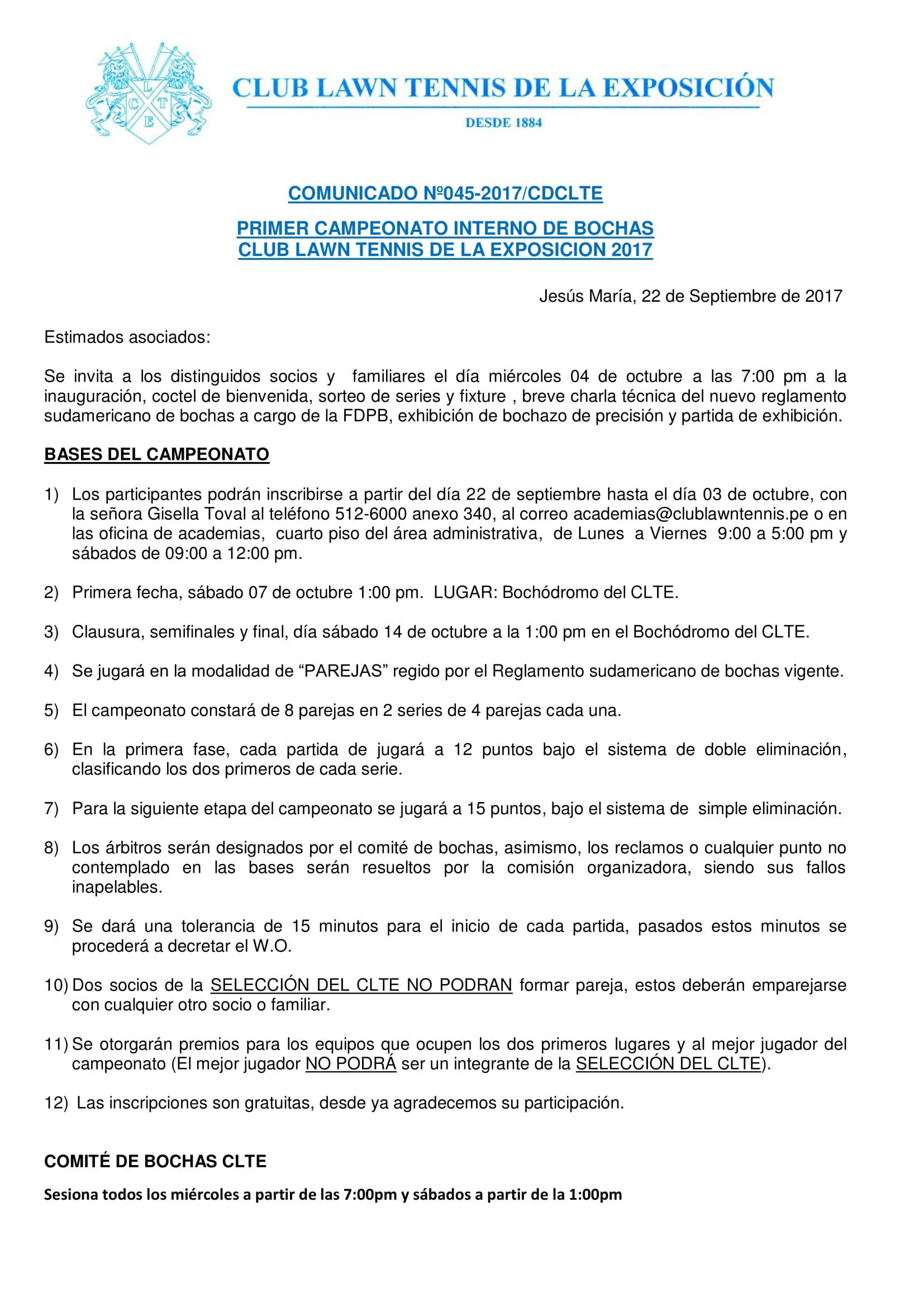 Comunicado 045 - TORNEO BOCHAS CLTE