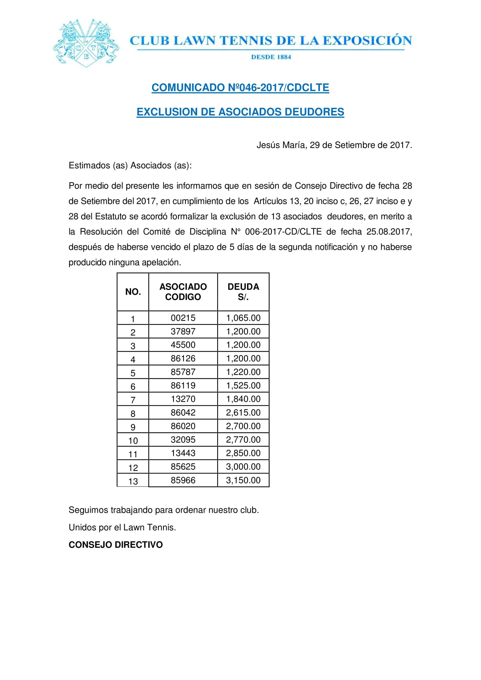 Comunicado 046 - EXCLUSION ASOCIADOS