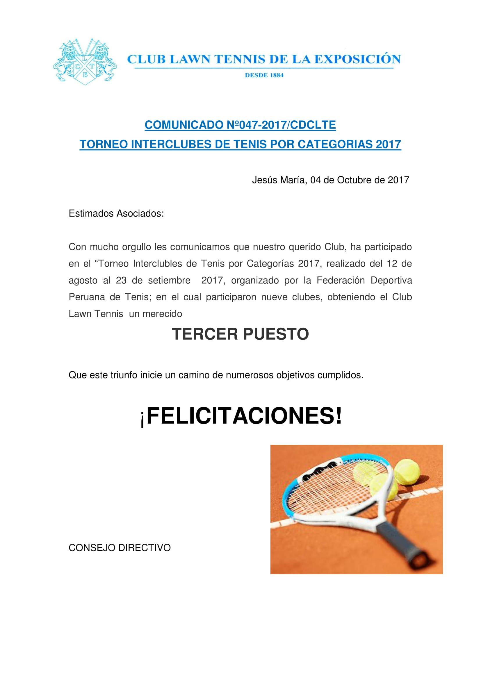 Comunicado 047 - Torneo Interclubes por Categorias 2017