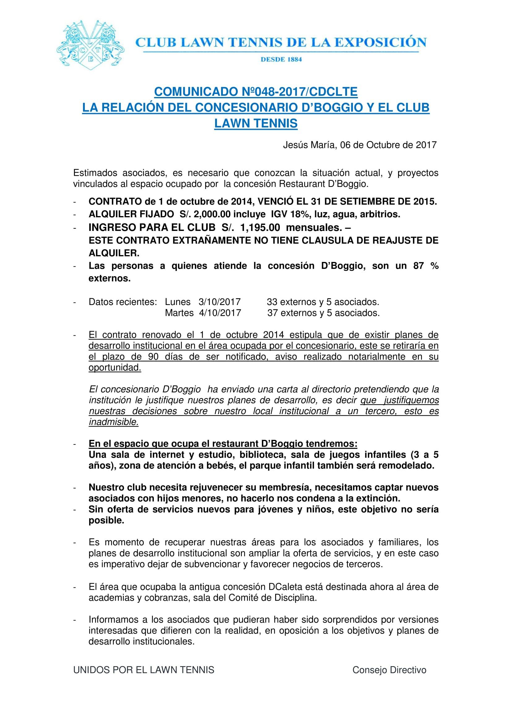 Comunicado 048 - Restaurante D'Boggio