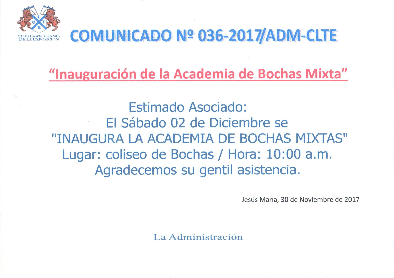 Comunicado 036 - Inauguración Academia de Bochas Mixta