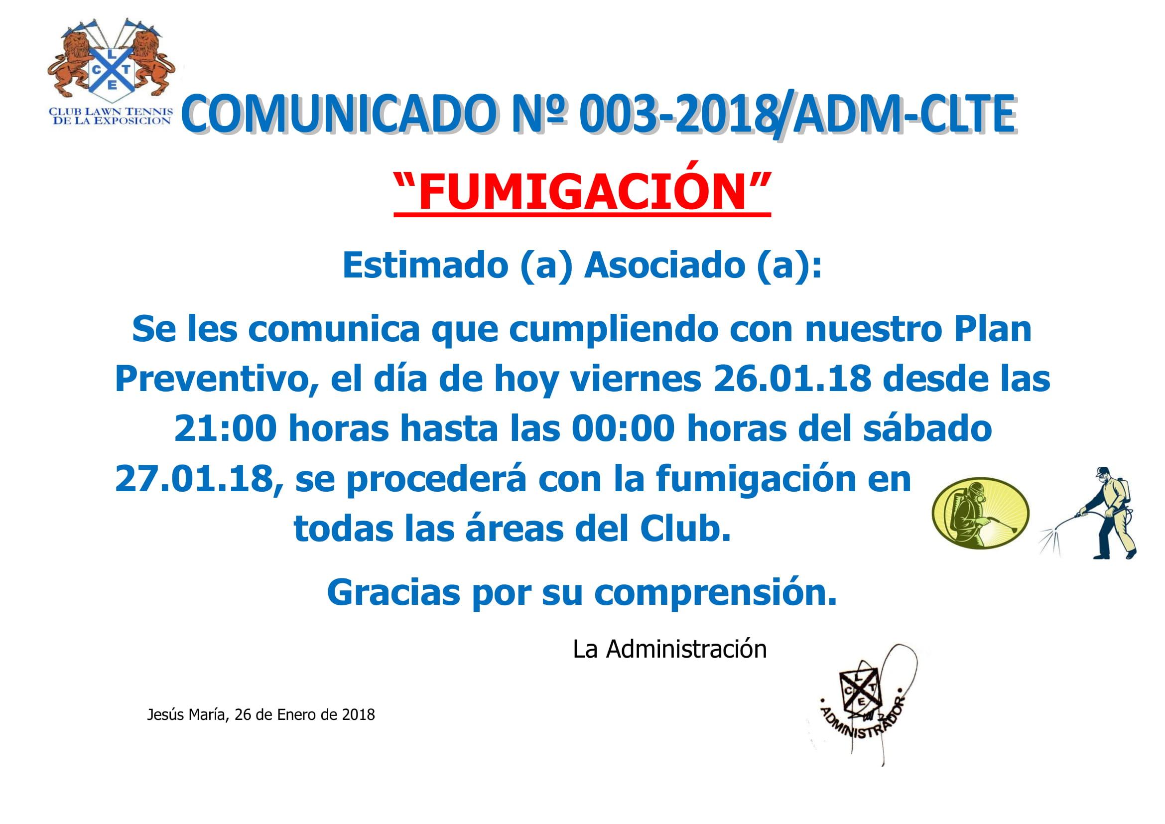 Comunicado 003-2018 ADM-CLTE - FUMIGACIÓN