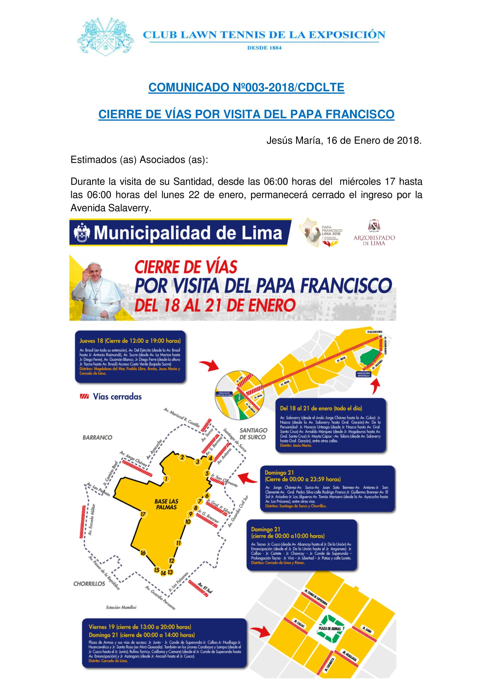 Comunicado 003 - CIERRE DE VIAS POR VISITA DEL PAPA FRANCISCO