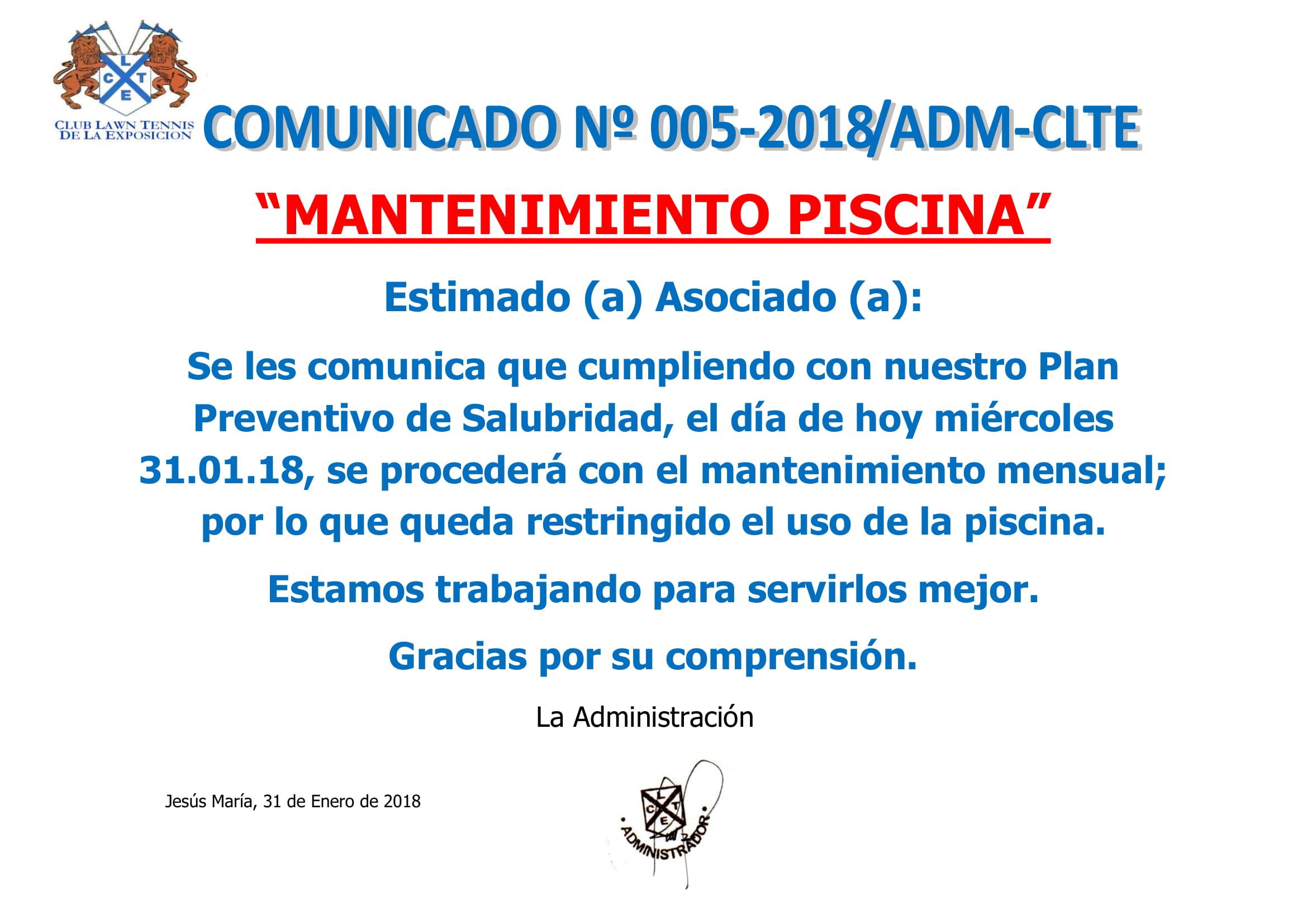 Comunicado 005-2018 ADM-CLTE - MANTENIMIENTO PISCINA