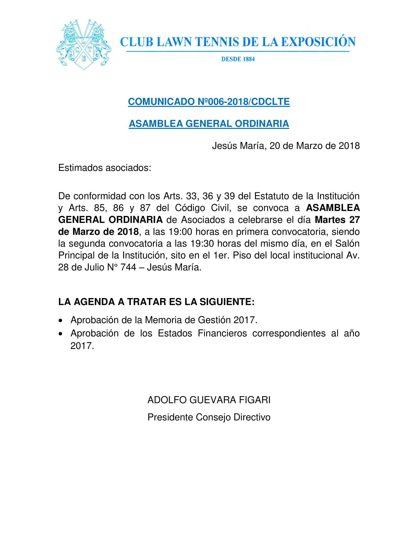 Comunicado 006 - Asamblea General Ordinaria
