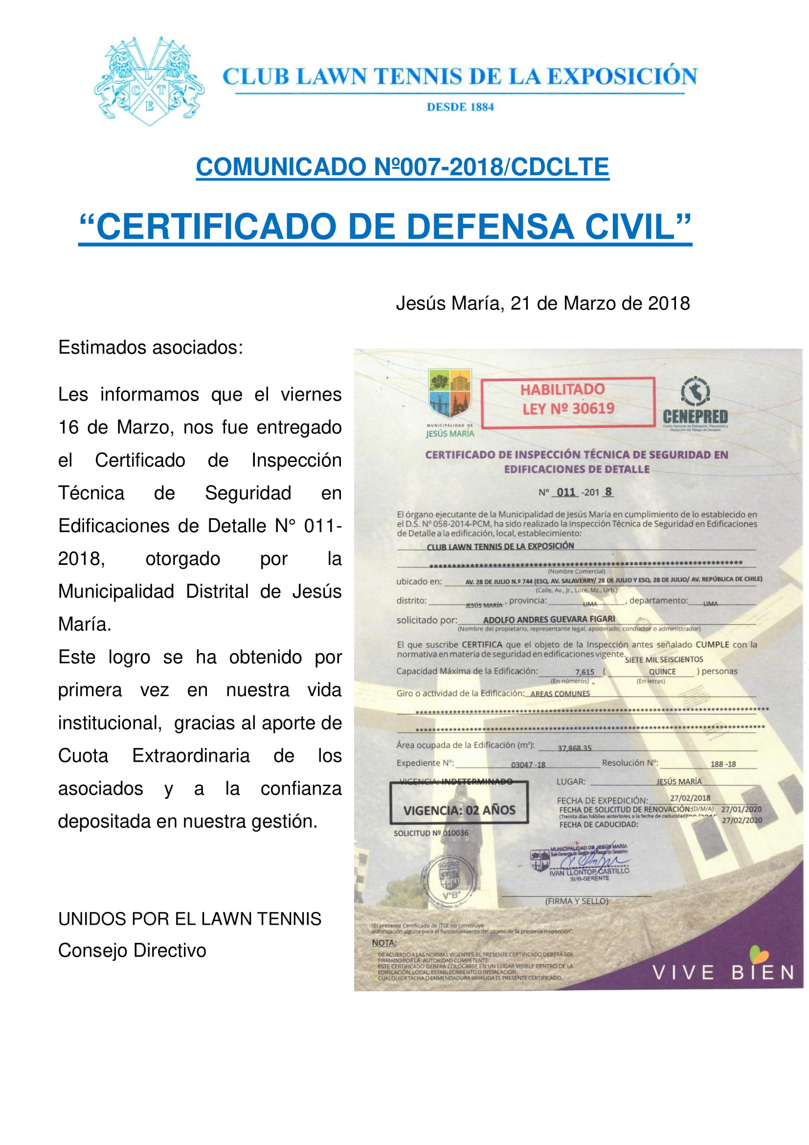 Comunicado 007 - CERTIFICADO DE DEFENSA CIVIL