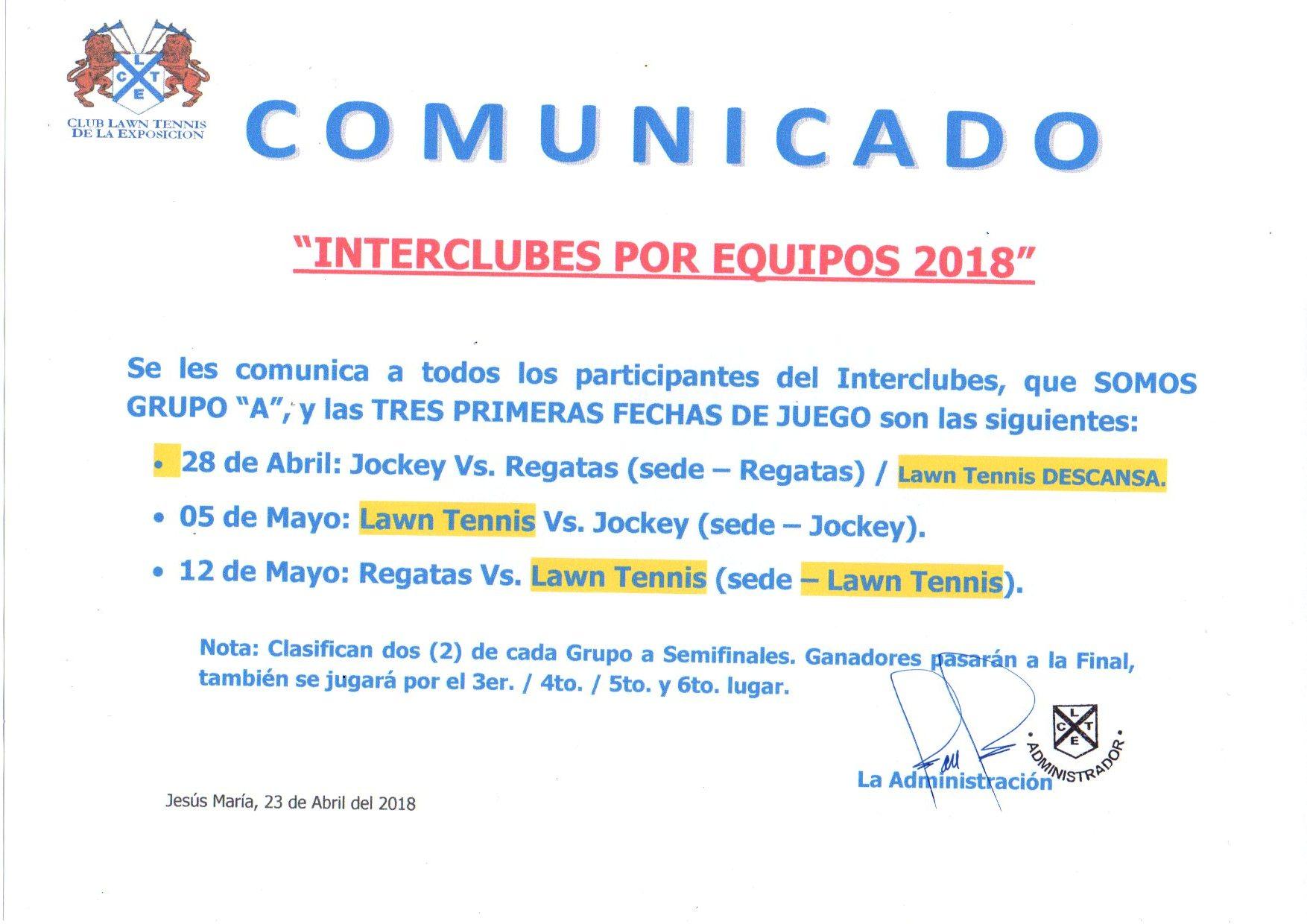 COMUNICADO INTERCLUBES FECHAS022