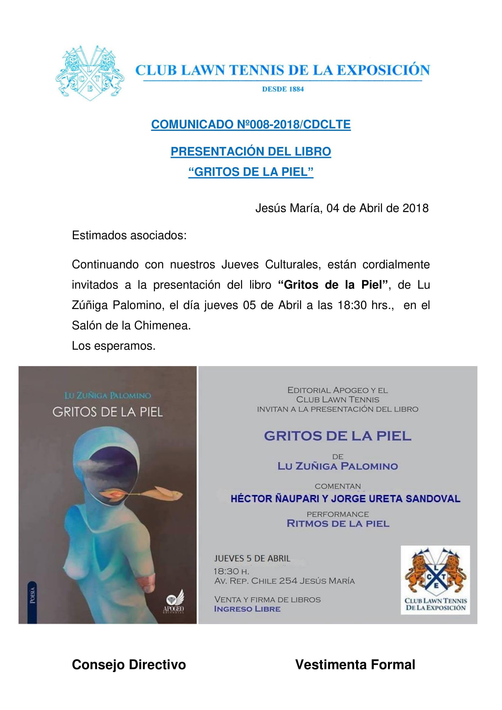 Comunicado 008 - PRESENTACION DEL LIBRO GRITOS DE LA PIEL
