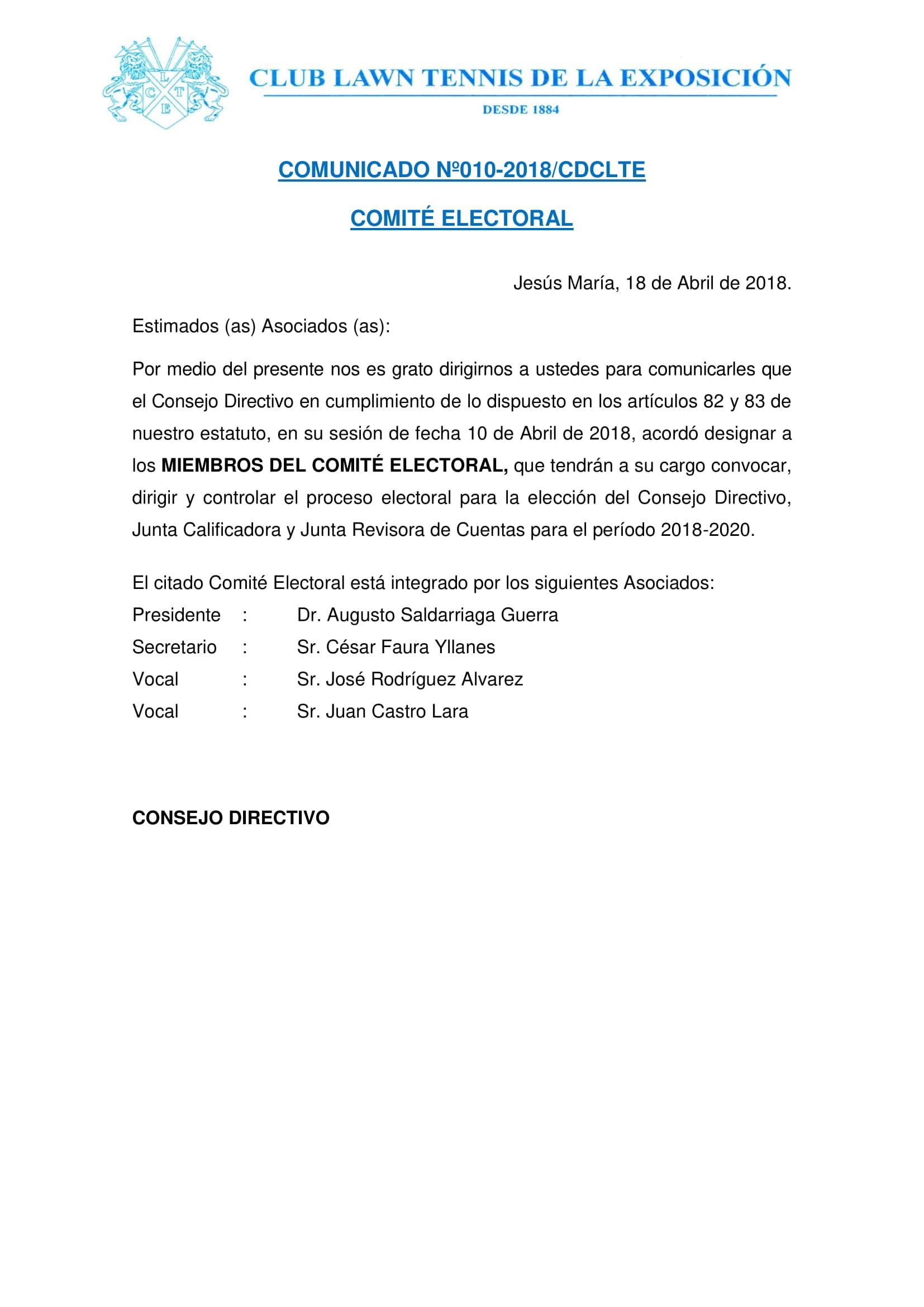 Comunicado 010 - COMITE ELECTORAL