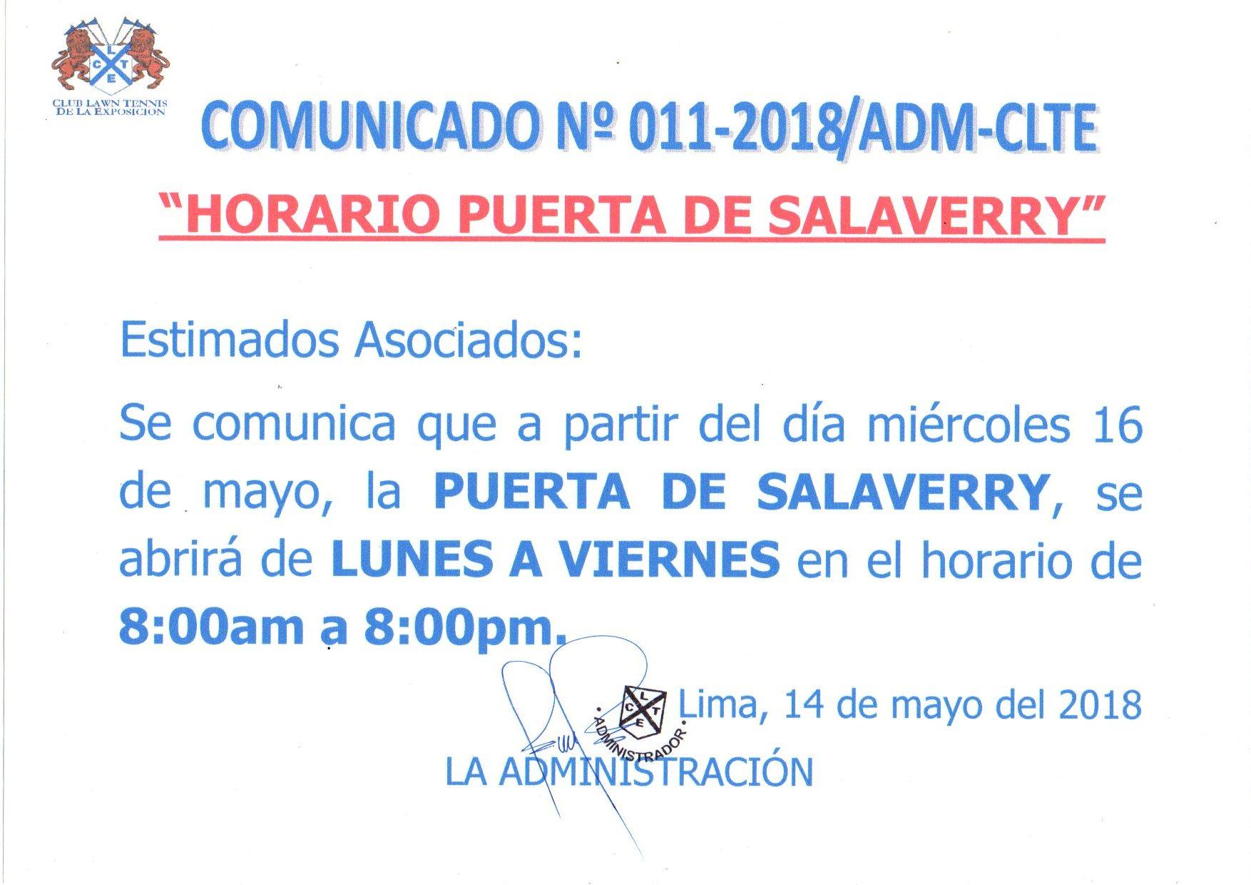 Comunicado N°011-2018ADM CLTE - Horario Puerta Av. Salaverry
